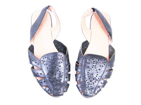 Vintage Black Leather Woven Sandals Size 7