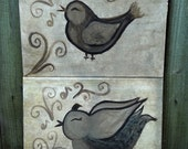 two canvas set of birds accented with scroll work and music notes in natural grays and tans can be customized in colors you want