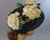 ON HOLD Dramatic Vintage 50s Platter Hat, Large Flowers, Derby, Church, Tea, Large Size