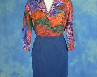 Vintage 60s Designer Abstract Water Color Silk Blouse, Sm Med, NWOT