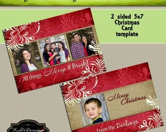 INSTANT DOWNLOAD Christmas card template Red Damask Merry and Bright Horizontal  5x7 psd file , customized , personalized