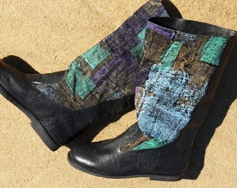 Black and fantasy patterned leather boots size 6.5 new vintage 80s unworn