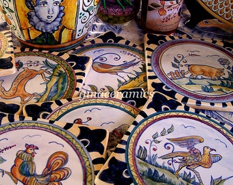 Majolica Hand Painted Ceramic Tile, One (1) Tile, you choose