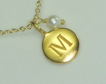 Free US Shipping-Custom Gold Initial Charm Necklace adorned with a Genuine Birthstone