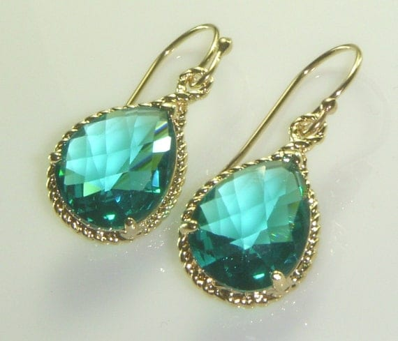 Twisted Gold Framed Transparent Teal Drop Earrings