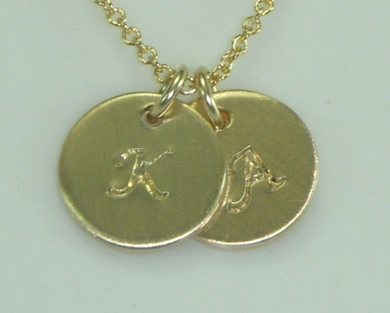 Two Initial Gold Necklace-Simple Print and Smaller Disc