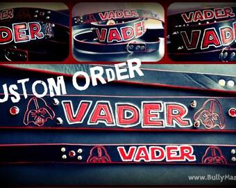 Darth Vader Star Wars Dog Lover Custom Leather Dog Collar - Handmade to Order