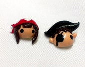 Pirate couple stud earrings