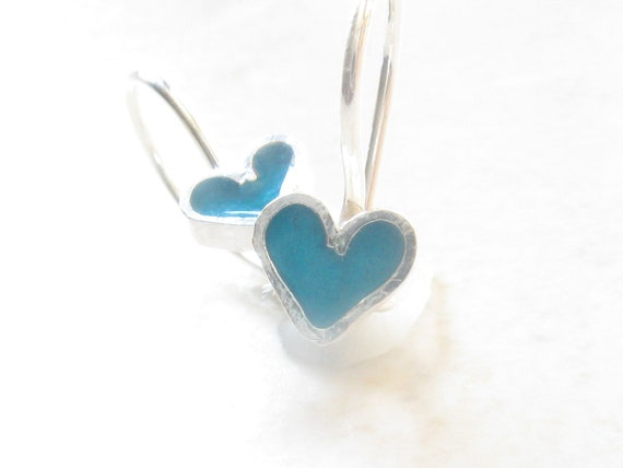 Girls Earrings.Heart Earrings.Blue Earrings.Sterling Silver Earrimgs.Girls Gifts.Girls jewelry.Heart jewelry.Silver earrings.under 40.