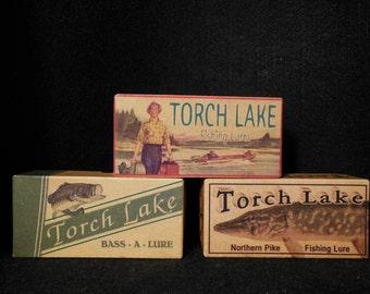 Torch Lake fishing decor lake house cabin nostalgic fishing lure boxes 4YourLake