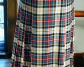 Pendleton Plaid Pleated Wool Skirt Size 14