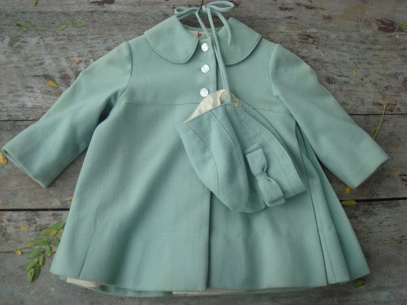 Vintage Baby Toddler Girls Sea Foam Green Wool Coat By