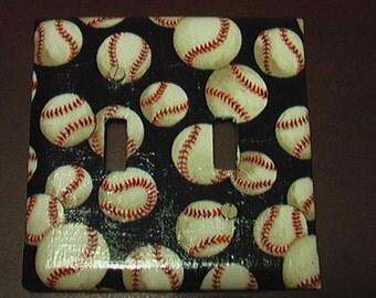 Baseball Set Double Light Switch Toggle Cover Plate and 2 Outlets Set includes child safety plugs