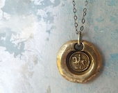 Horse Wax Seal Pendant Necklace. Recycled Bronze Wax Seal Jewelry. Woman Cantering on the Horseback - RenataandJonathan