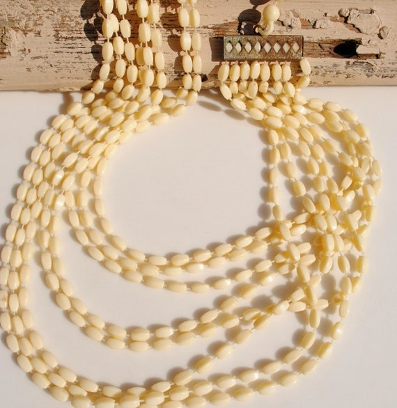 RESERVED for W - Eight Strand Faux Ivory Bead Necklace
