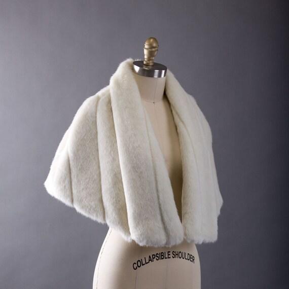 The Grace Kelly- Ivory Faux Mink Bridal Cape