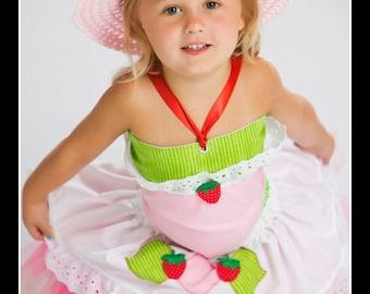 SHORTCAKE SWEETIE Strawberry Shortcake Inspired Costume with Tutu, Twirl Skirt, Corset Top and Hat