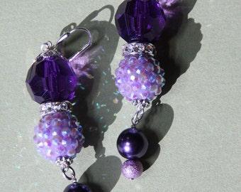 """3"""" L Purple,  all shades,  rhinestone, glass pearl, dangle earring"""
