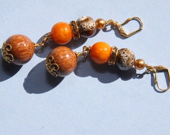 """3"""" L Brown n White spotted porcelain, Jade stone dangle, drop earring"""