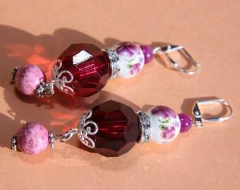 "3"" L Raspberry jade, pink turquoise stone, porcelain, rhinestone,  dangle, drop earrings   Orient Flair"