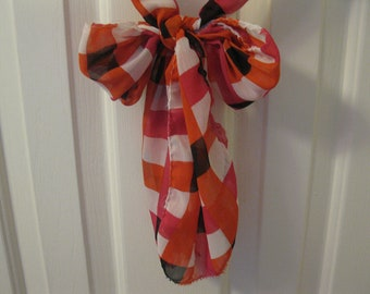 on sale Scarf-Black Orange White and red