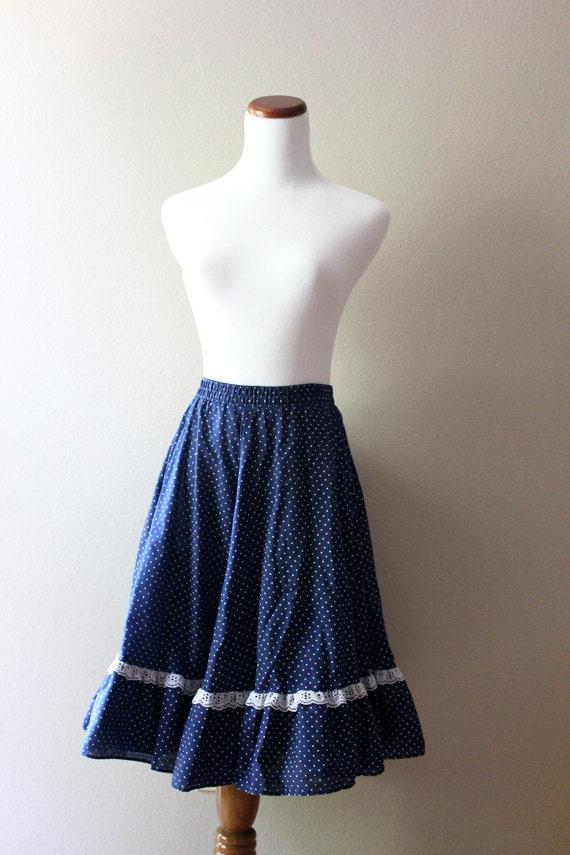 Vintage Blue Lace Skirt // Senorita Twirl LARGE