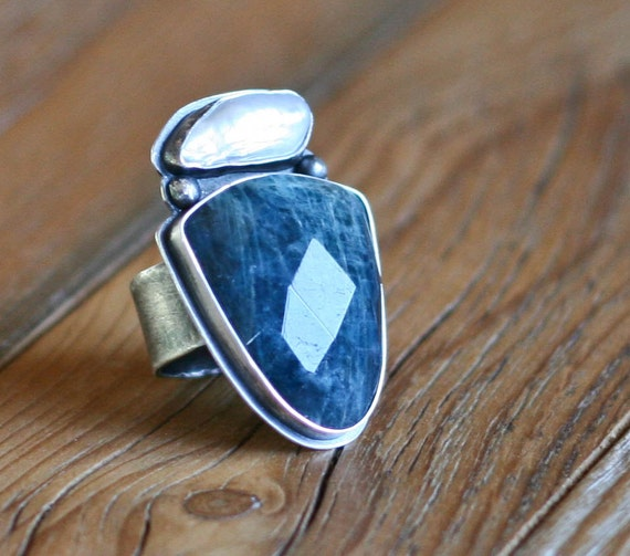 RESERVED  Pearl and Apatite Cocktail Ring, Bezel Set Statement Ring, Large Gemstone Ring