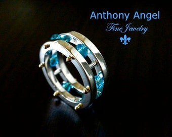 Nautical Collection, Captive Gem Ring With Swiss Blue Topaz