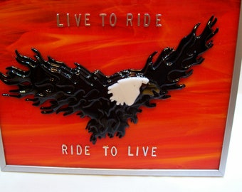 Eagle, Motorcycle, Bikers, Flaming Eagle, Fused Glass, Handmade, Live To Ride, Ride To Live, Bike Week