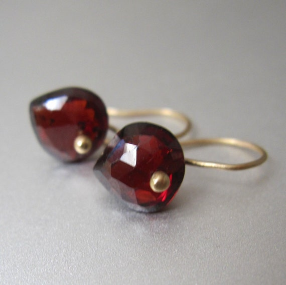 Small Garnet Solid 14k Gold Inverted Drop Earrings