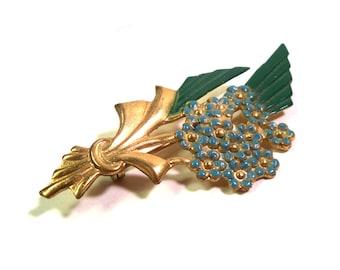Vintage 1940s Flower Brooch Enameled Blue Daisy Flower Bouquet Pin