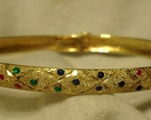 Sparkly 10k gold bracelet with glass faux gemstones - diamond cut - brushed matte  - solid yellow 10 carat - dressy flexible bangle