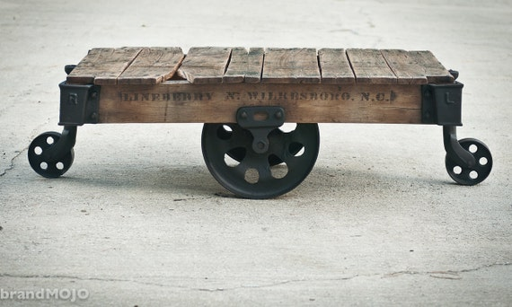 ON SALE Vintage Industrial Factory Cart Coffee Table - 48L x 27w x 16.5t - furniture salvaged repurposed weathered rustic in stock