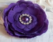 31/2'' The Clara flower PLUM silk flowers with pearl and diamond rhinestone hair clip headbands brooches fascinators wedding bride