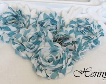 Set of 6 Shabby  Frayed Vintage look Cotton Rosette Flowers - Blue White Stripe