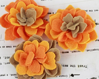 SALE CLEARANCE 30% off- Orange Poppies and Peonies Collection - Felt Flower Embellishments Fabric Flowers