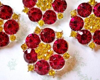 6 pcs - 25mm Silver Plated Metal Rhinestone Fuchsia Yellow  Buttons with Shank on the back - wedding / hair / dress / garment accessories