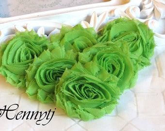 Set of 6 Shabby  Frayed Vintage look Chiffon Rosette Flowers - LIME Green