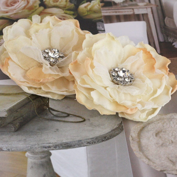 Prima Bravo Collection - Vintage Style Cream Champagne Layered Fabric Flowers with sparkling rhinestone Center
