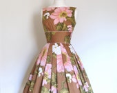 Russet and Japanese Blossom Pink Print Cotton Prom Dress - Made to Measure