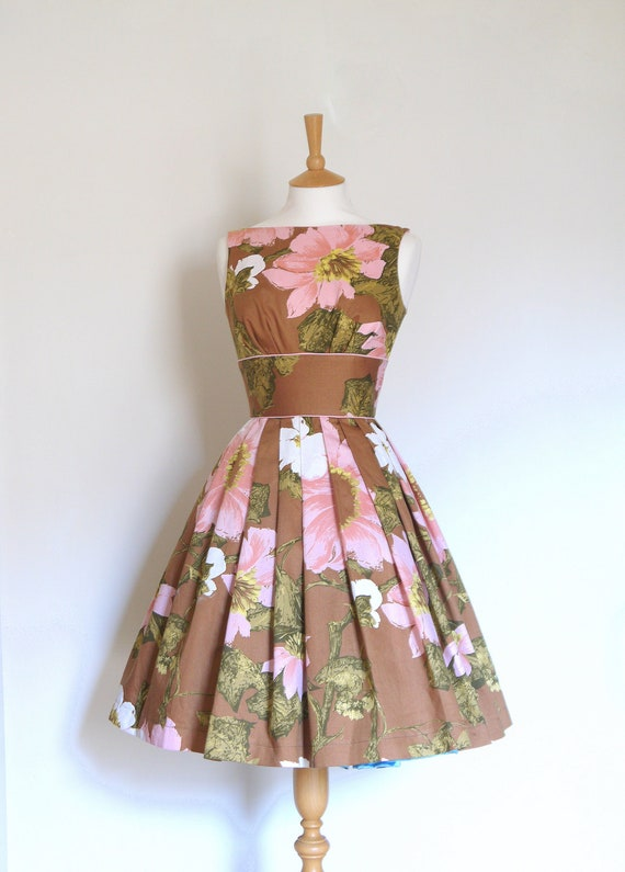 Size UK 16 (US 14) - Russet and Japanese Blossom Pink Print Cotton Prom Dress - Made by Dig For Victory