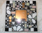 sold bethlehem nov 2 2012 black & white mosaic mirror with flower accents