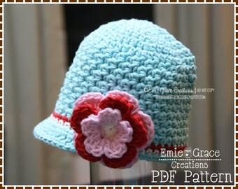 Newsboy Hat Crochet Pattern, Textured Brimmed Beanie, AVERY - pdf 228