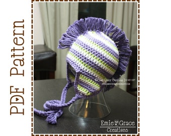 Crochet Mohawk Hat Pattern, 8 Sizes from Newborn to Adult, DYLAN - pdf 308