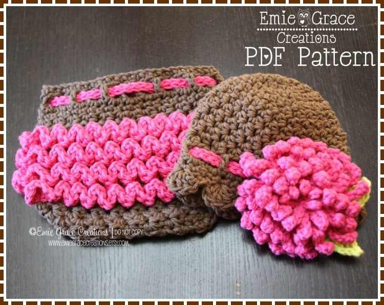 Flower Hat and Ruffle Diaper Cover Crochet Patterns DELILA