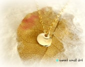 sweet and small dot necklace - 20 gauge mirror finish round tag - 14k gold filled - minimal jewelry - bridal gifts