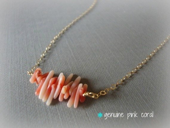 coraline - pink coral mini branches - tiny ruffle at your throat - unique everyday jewelry (silver version avail)