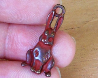 earring charm, RABBIT,  red patina  2 pcs