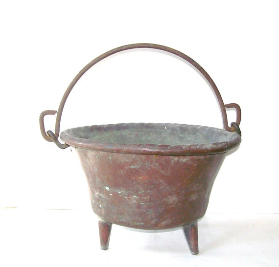 Copper Pot. Antique Cauldron. Rustic Copper Prim Farmhouse