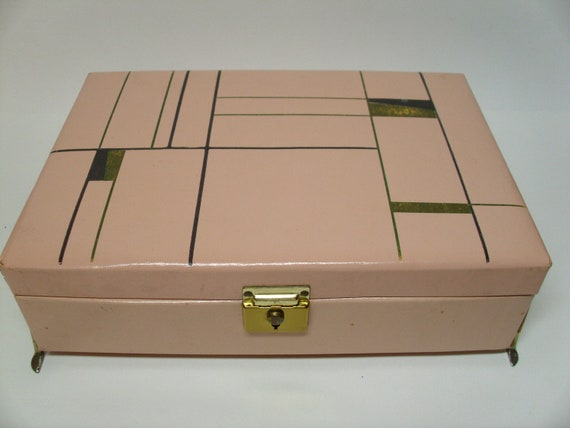 RESERVED Vintage 1950's/1960's  Pink Atomic Jewelry Box
